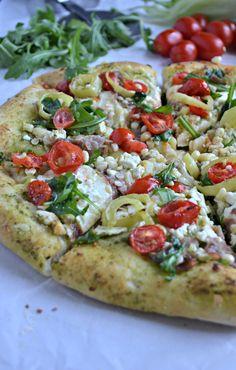 Arugula & Basil Pesto Pizza with Corn, Tomatoes and Prosciutto
