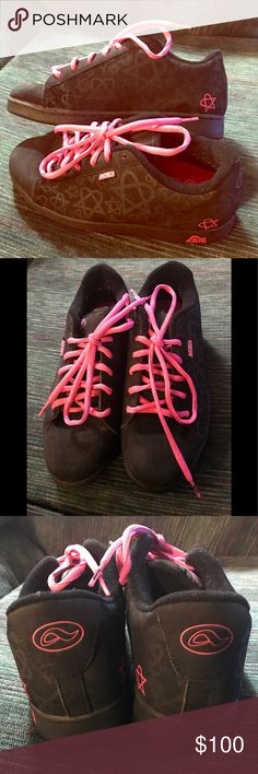 Adio Bam Margera Heartagram skate shoes Gently used Adio skate shoes. Black and pink. Bam Margera Heartagram H.I.M. Style. Rare limited edition hard to find shoes. Men's size 9, Women's size 10 1/2. Comes with original box. Cat friendly smoke free home. Adio Shoes Sneakers