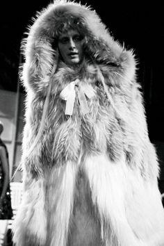 Julia Nobis (Elite) backstage at Alexander McQueen AW14