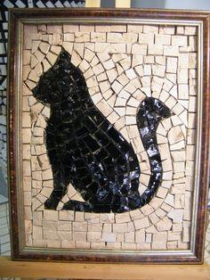 black cat by LaMusaMosaici on Etsy