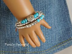 Set of 3 Turquoise and Silver Stacking Bracelets for 18 inch dolls by PurelySplendid