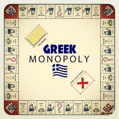""""""" I see Hasbro have brought out a new Greek version of the classic board game Monopoly. Learn Greek, Go Greek, Greek Life, Greek Memes, Funny Greek, Tragic Comedy, Greek Flag, Greece Pictures, Greek Culture"""