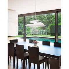 Κρεμαστό φωτιστικό απο γυαλί λευκό. Dining Table, Windows, Furniture, Home Decor, Decoration Home, Room Decor, Dinner Table, Home Furnishings, Dining Room Table