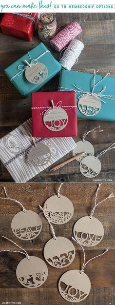 Paper Cut Holiday Gift Tags - www.LiaGriffith.com #giftwrap #Giftwrapping #holidaygiftwrapping #holidaydiy #gifttags #holidaydiy #christmasdiy