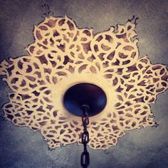 European Lace Ceiling Medallion Stencil stenciled on a ceiling by Alicia from LULU Painting!