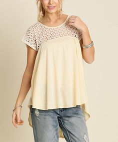 This Cream Lace-Shoulder Hi-Low Top is perfect! #zulilyfinds