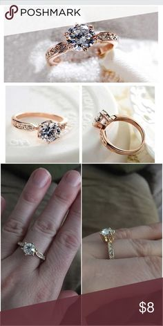 Romantic white cubic zirconia Beautiful ring 💍 size 8 nice dressy ring Jewelry Rings