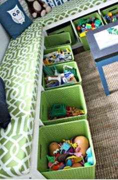 Turn bookshelves on their sides to use them for holding storage bins, as well as a short bench!