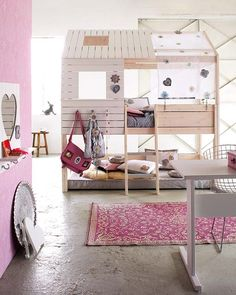 For girls .. heart shaped mirror, place for hand bags, flower canopy fabric on tree house