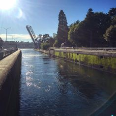 Sun train bridge at the Locks in Seattle where boats are gently transported between the fresh water of Lake Union and the salt water of the Puget Sound. This is one of the places we love to bring visitors. What do you show your guests when they visit your town? by aeolidia