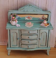 Miniature Shabby Chic Buffet With A Mirror  by LittleThingsByAnna, $75.00