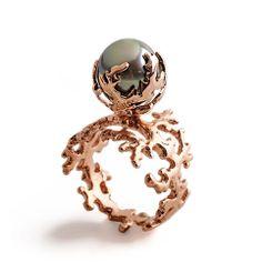 ROSE CORAL Tahitian Pearl Ring Pearl Engagement Ring 14k by arosha, $1,750.00