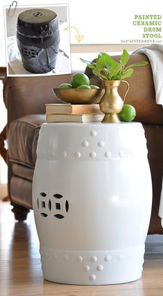 The Painted Hive | How To Paint Ceramic…Drum Stool Redo
