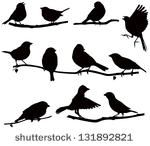 Vector images silhouettes of birds on a branch/ Silhouettes bird on a branch by Yurchenko Yulia, via Shutterstock