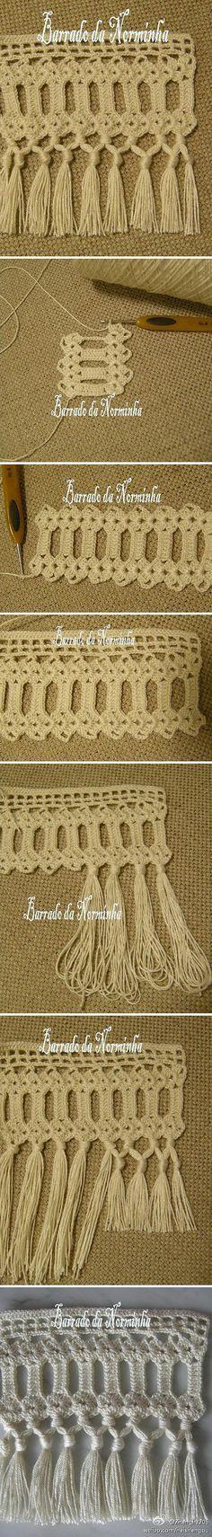 Crochet tassel edging tutorial ༺✿ƬⱤღ https://www.pinterest.com/teretegui/✿༻