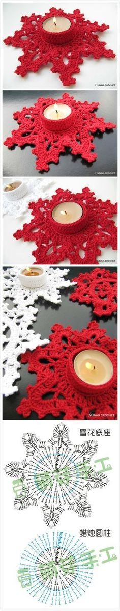 diy crochet snowflakes instructions in japanese but an experienced crocheter could suss out from charts here - PIPicStatscrochet snowflake for candle holder Crochet Christmas Ornaments, Crochet Snowflakes, Snowflake Pattern, Handmade Christmas, Christmas Crafts, Xmas, Crochet Home, Crochet Gifts, Diy Crochet