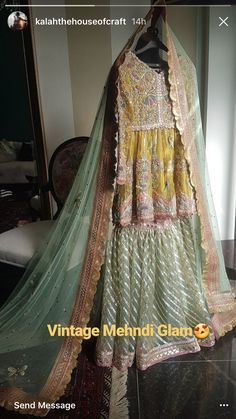 Gorgeous outfit by kalah the house of craft Pakistani Wedding Outfits, Bridal Outfits, Pakistani Dresses, Indian Dresses, Bridal Dresses, Mehndi Outfit, Mehndi Dress, Bridal Dress Design, Bridal Style