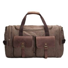 Handmade Waxed Canvas Duffle Bag Travel Bag Holdall Luggage Bag Overnight  Bag                              We use selected thick genuine cow. 48580def0026a