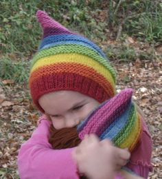 Rainbow Pixie Gnome Hat Set for Toddler and DollSize by mamajudes, $75.00