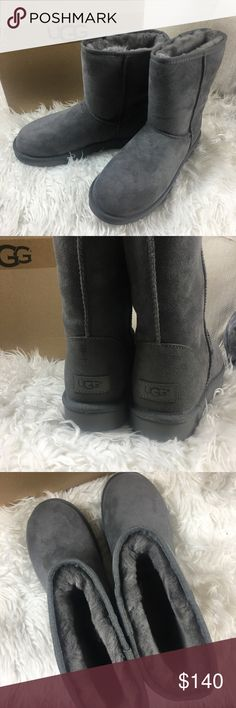 UGG Women's Classic II Short Water-Resistant Boot Does not come with box. UGG. Size 7 women's. Authentic. NO lowballs! Lightly worn.  Retail $150.  Hmu to avoid posh fees!  UGG Women's Classic II Short Water-Resistant Boot In Grey. Feel free to ask any questions! Perfect for the upcoming winter days!! UGG Shoes Ankle Boots & Booties