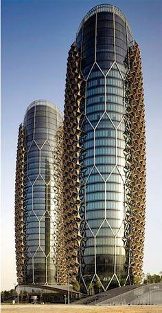 Al Bahr Towers, Abu Dhabi, United Arab Emirates, Aedas Architects, 2013 Unusual Buildings, Interesting Buildings, Amazing Buildings, Modern Buildings, Architecture Design, Futuristic Architecture, Beautiful Architecture, Contemporary Architecture, Abu Dhabi