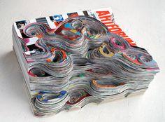 "In her series ""Artforum Excavation,"" artist Francesca Pastine created cut paper sculptures out of issues of Artforum."