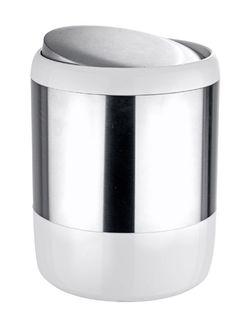 Der moderne Kosmetikeimer Loft aus rostfreien satinierten Edelstahl kombiniert mit weißen Kunststoff verfügt über einen praktischen Schwingdeckel. Gesehen für € 29,99 bei kloundco.de.