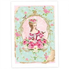 Marie Antoinette Art Print Giclee Vintage rose by CafeBaudelaire,