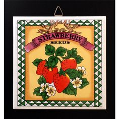 Strawberry Trivet, Vintage Wall Hanging, Country, Farmhouse Kitchen,... ($10) ❤ liked on Polyvore featuring home, kitchen & dining, kitchen gadgets & tools, red wall hanging and red trivet