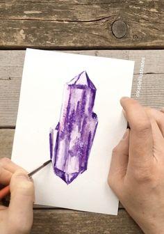 Quick video of a purple watercolor crystal illustration, not perfect but a pretty color! Illustration Cristal, Watercolor Illustration, Crystal Drawing, Graffiti, Art Tutorials, Painting Tutorials, Guache, Watercolor Paintings, Watercolor Wood