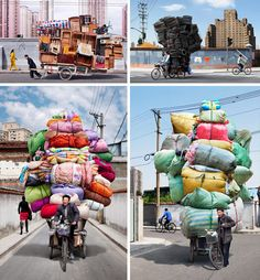 Wouldn't these pictures of crazy bike couriers in China make a good series of prints?