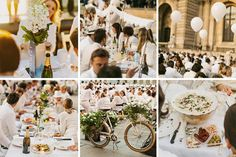 Diner en Blanc, also known as Diner in White, a top secret invitiation-only flash mob in Paris, France where 11,000 people dressed entirely in white clothes spontaneously set up tables and chairs in front of historic landmarks one night a year. This year's locations included the Eiffel Tower and the Louvre. Photographed by Stacy Reeves for L'Amour de Paris.