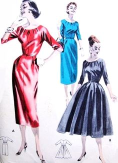 1950s Lovely Day or Cocktail Evening Dress Pattern  Butterick 7947 Stunning Tucked Neckline Slim or Full Skirt  Figure Flattering Design Bust 34 Vintage Sewing Pattern FACTORY FOLDED