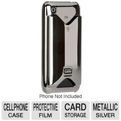 Case-Mate IPH3GID-MSLV Protective Case - Compatible For iPhone 3G/3Gs, ID/Credit Card Storage, Metallic Silver