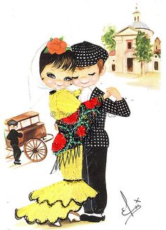 Embroidered Vintage Postcard from the the 70s of a Big Eyed Spanish Boy and Girl   por PrettyPostcards