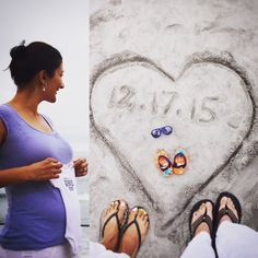 "Our pregnancy announcement! ""B is for beaches, babies and blue. In December, our beach baby is due!"""
