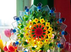 Multi-color fused glass mandala