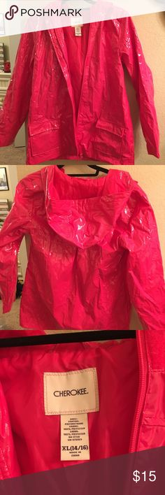 Pink Cherokee raincoat Never been worn pink raincoat with pockets and zipper Cherokee Jackets & Coats