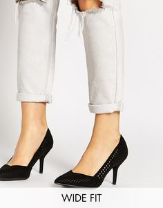 New Look Wide Fit Rally Black Perforated Heeled Court Shoes