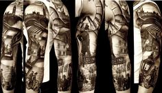Black and grey realism 3/4 sleeve done by Matteo Pasqualin Porto Viro IT. I love the realism and how negative space is used instead of just looking blank