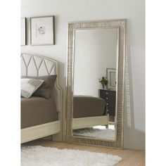 Features:  -Crestaire collection.  -Finish: Argent.  Shape: -Rectangle.  Style (Old): -Modern.  Mirror Type: -Full Length.  Orientation: -Horizontal.  Framed: -Yes.  Frame Finish: -White.  Mount Type: