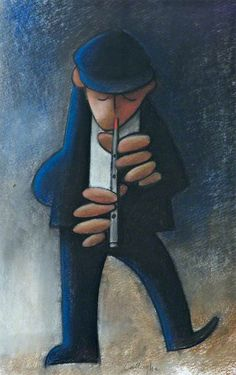 Flute Player by artist George Callaghan who was born in County Antrim, Northern Ireland in Art And Illustration, Illustrations, Pictures To Paint, Art Pictures, Blood Art, Native American Flute, Jazz Art, Music Drawings, Irish Art