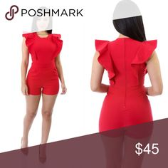 Romper Bundle to save PRICE FIRM UNLESS BUNDLED ❌❌ NO TRADES ❌❌ Get a different look with this playful ruffle romper. It has a boat neck and stretch fabric fully lined. Zip closure at back.  Model is wearing a small  *24% Polyester *4% Spandex *72% Rayon *Hand wash cold water *Do not bleach Bundle to save PRICE FIRM UNLESS BUNDLED ❌❌ NO TRADES ❌❌ Boutique Pants Jumpsuits & Rompers