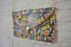 Marvel Retro Comic Book bag pochette envelope clutch READY TO SHIP - Perfect Valentine& day gift EUR) by IdidntDothat Handmade Clothes, Handmade Bags, Handmade Envelopes, Special Occasion Shoes, Envelope Clutch, Bag Making, Decoupage, Marvel, Shoulder Bag
