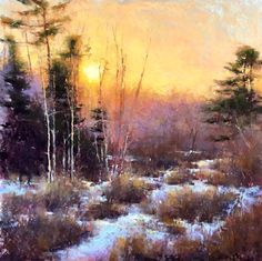 "Jacob Aguiar, ""March Sunset,"" pastel on paper, 24 x 24 in"