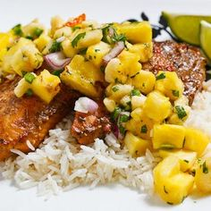 Jerk Fish on Coconut Rice Topped with Banana and Pineapple Salsa Recipe
