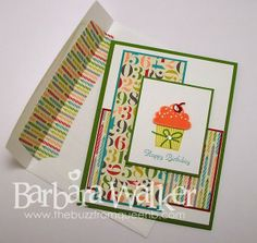 The Buzz: Birthday Card Blitz! Birthday card featuring Create a Cupcake stamp set, Cupcake Builder punch and Birthday Basics dsp