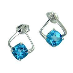 Blue Topaz Earrings in 14 KW https://www.goldinart.com/shop/colored-gemstone-earrings/blue-topaz-earrings-14-kw #14KaratWhiteGold, #BlueTopaz, #Earrings