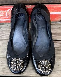TORY BURCH Black Patent Leather Slip-on Loafers Ballet Flats Shoes Women's 9M #ToryBurch #BalletFlats #Casual