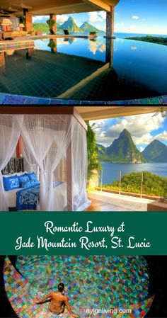 Romantic Plantation Style hotel at Jade Mountain Resort in St Lucia with great views, private infinity pools and butler service.
